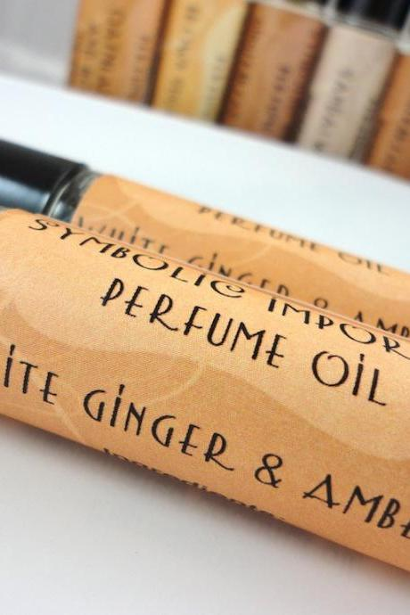 White Ginger and Amber Perfume Oil - Roll On Perfume
