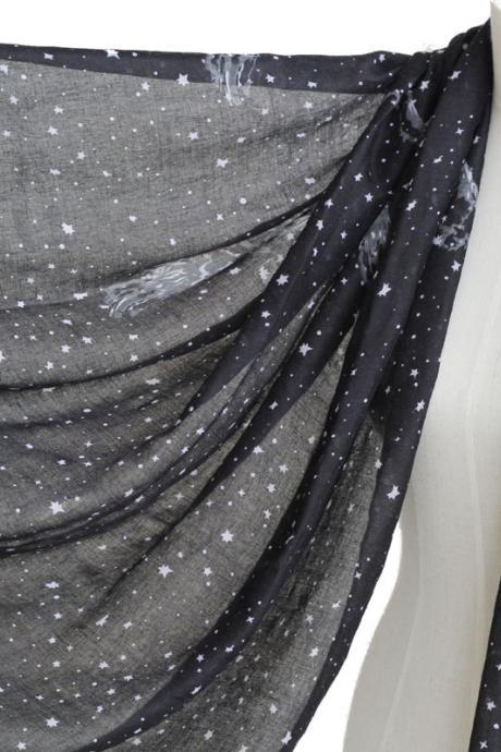Pegasus Stars scarf cotton shawl oversize wrap spring summer scarves Black