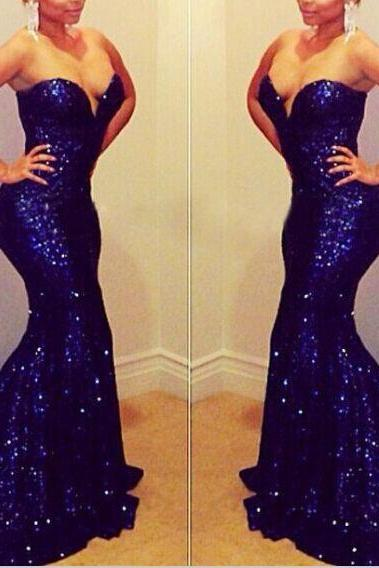 Fashin Royal Blue Sequin Mermaid Long Prom Dress, Sweetheart Prom Dress 2015,Trumpet Evening Dress, Evening Prom Gown,Wedding Dress