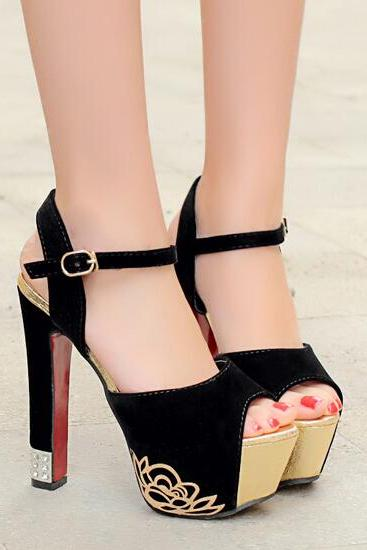 Black Ankle Strap Design Peep Toe High Heel Fashion Sandals