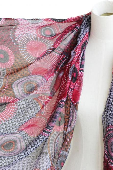 sheer cotton national flavor circles print scarf shawl wrap spring summer scarves