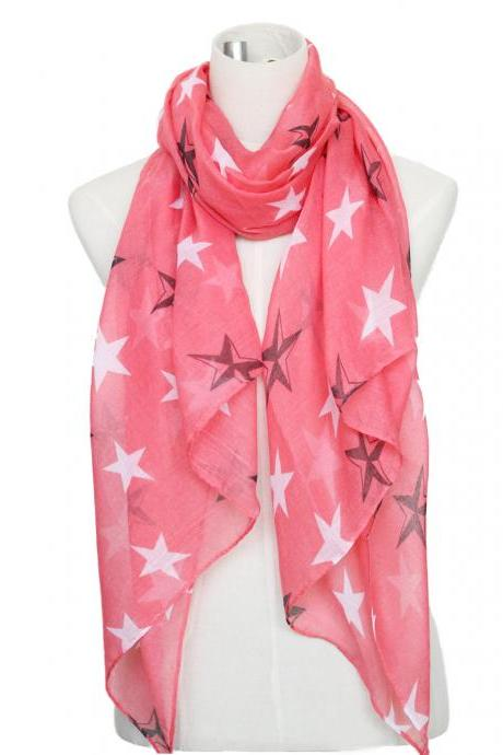 sheer cotton stars print scarf shawl wrap spring summer scarves