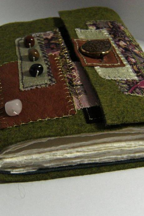 Forest Journal - Wool Felt Embroidered Journal - Suede Lining - Hand Embellished - Ready to Ship