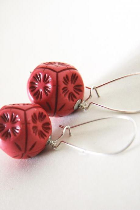 tangerine tango earrings - modern geometrical with flowers autumn colors