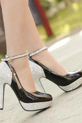 Beautiful Metallic Black Charmed Ankle Strap High Heels Shoes