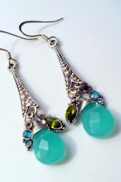 aqua dangle earrings with art nouveau pendants