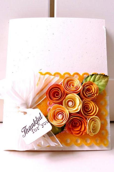 Thankful for you orange, yellow, autumn handmade card