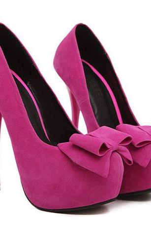 Sexy Bow Design Rose Platform Fashion Pumps