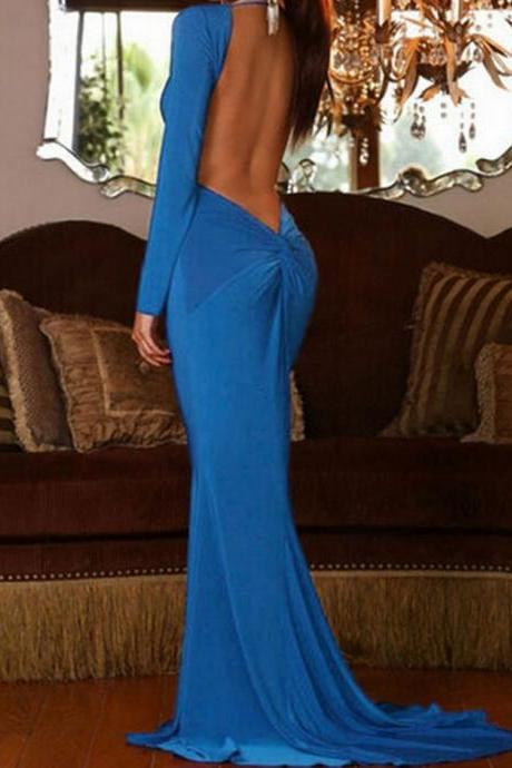 Backless Mermaid Dress In Blue