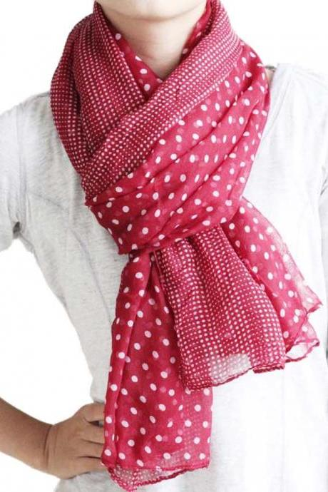 maroon red sheer cotton Polka Dot scarf shawl wrap spring summer oversize scarves