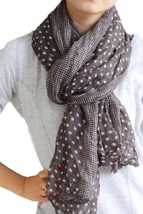 Coffee sheer cotton Polka Dot scarf shawl wrap spring summer oversize scarves