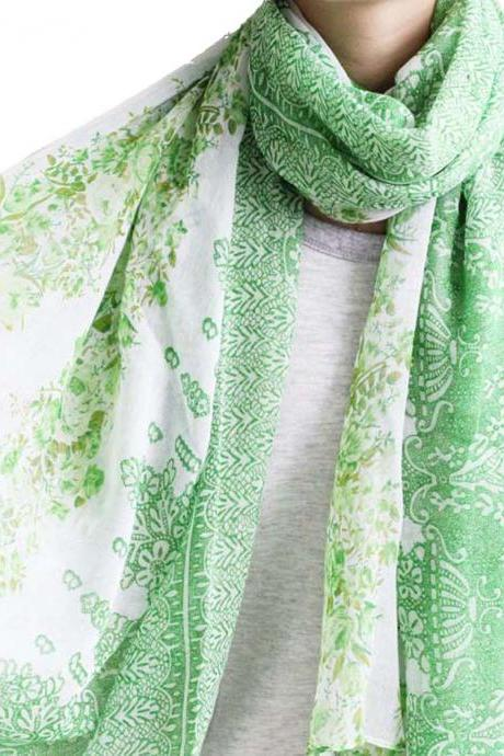 bright green sheer cotton floral scarf shawl wrap spring summer oversize scarves