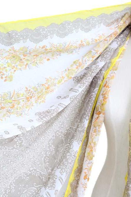 yellow sheer cotton floral scarf shawl wrap spring summer oversize scarves