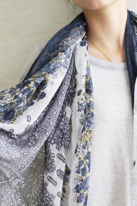 navy blue sheer cotton floral scarf shawl wrap spring summer oversize scarves