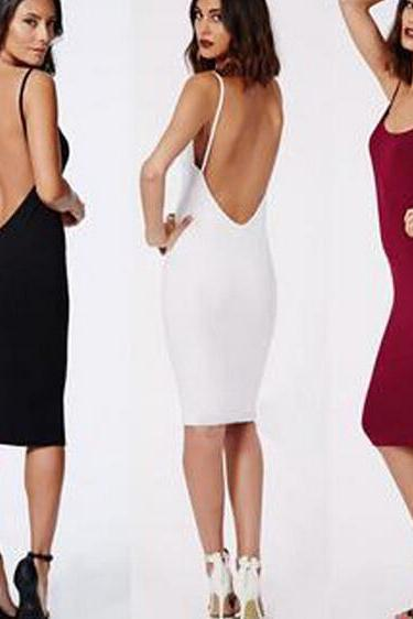 Sexy tight package buttocks backless condole belt dress