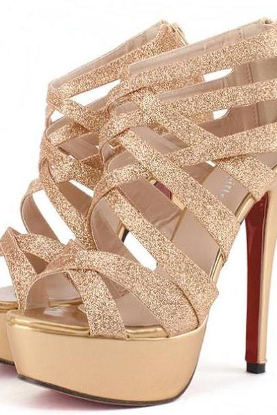 Gold Glittery Caged Stiletto Open Toe Heels with Back Zipper
