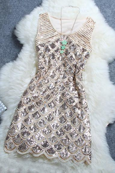 Sleeveless Sequined Party Dress In 4 Colors