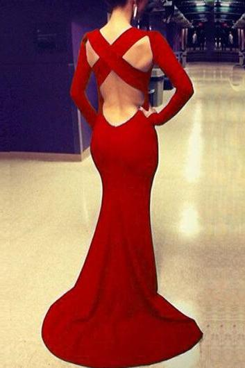 Charming Open Back Long Sleeve Maxi Dress - Red