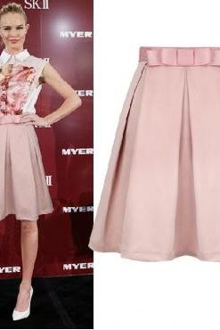 New Style Solid Pink A Line Knee Length Peplum Skirt