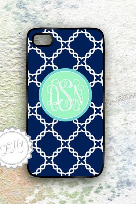 Mint monogram iphone 4 /4s case navy blue and mint damask hard cover