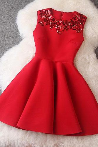 Luxury Designer Sequined Sleeveless Dress For Autumn&Winter - Red