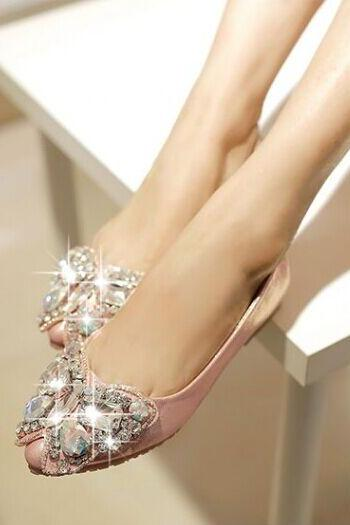 Pointed-Toe Butterfly Jewel Embellished Ballerina Flats