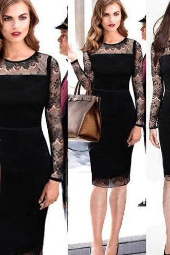 Sexy O Neck Long Sleeves Lace Patchwork Black Polyester Sheath Knee Length Pencil Dress