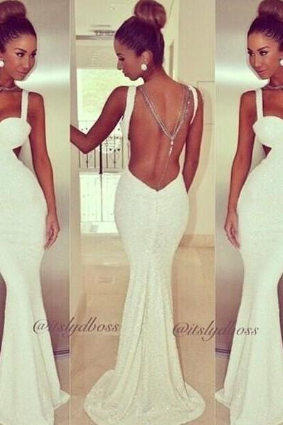 Sexy V Neck Off The Shoulder Sleeveless Backless White Polyester Mermaid Floor Length Dress