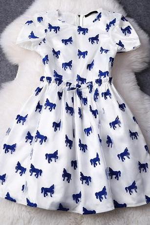 Luxury Horse Printed Short Sleeve Organza Dress - Blue