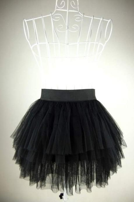 New Fashion Ladies Short Skirt Four Gauze Skirt Puff Women Casual Skirt Lace Skirt Black Women