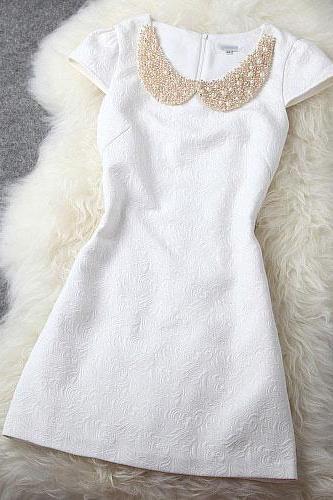 Sweet White Shining Beading Party Dress VG41113MN