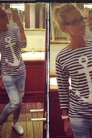 New Classic Style O Neck Long Sleeves Striped Print Cotton T-Shirt