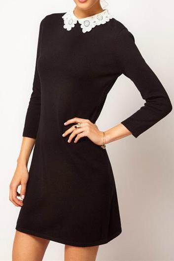 Fine Quality Three Quarter Sleeve Woman Black Dress