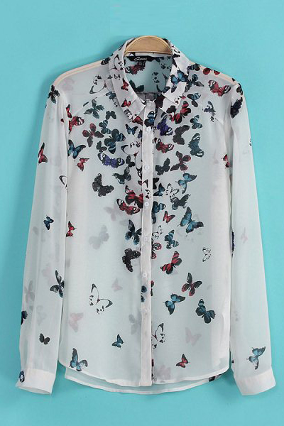 Fashion Woman Turndown Collar Long Sleeve Print Chiffon Shirt