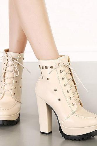 Women's Lace-Up Thick High Heel Boots Embellished with Pyramid Studs