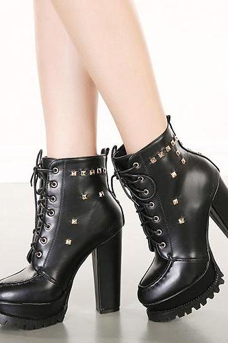 Cheap Spring Autumn Round Toe Rivets Decorated Lace-Up Chunky Super High Heel Black PU Short Cavalier Boots