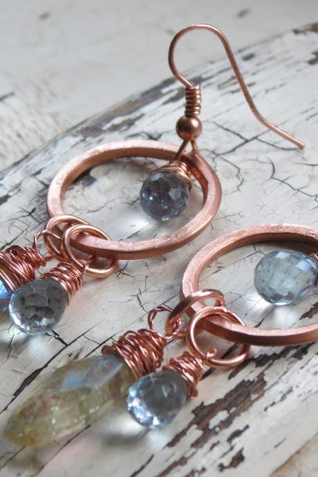 Hammered copper - london blue topaz and citrine earrings