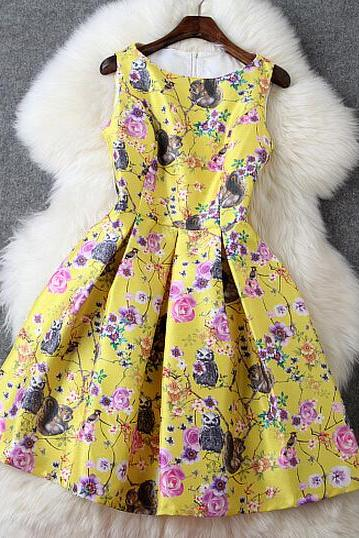 Luxury Floral Yellow Sleeveless Dress