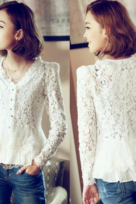 Fashion Shoulder Pad V Neck White Lace Blouse Women Elegant Chiffon Patchwork Lace Shirt Women