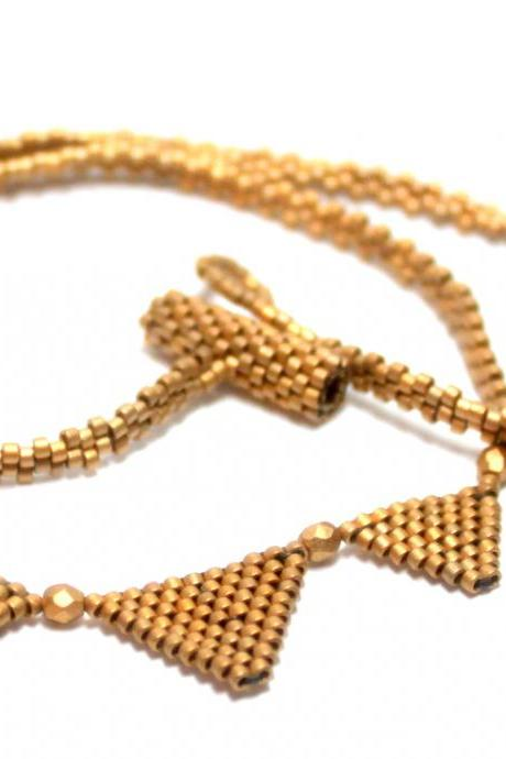 Matte Gold Beaded Egyptian Pyramid Triangles Necklace