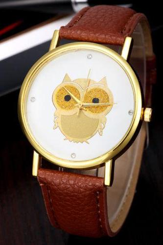 Owl watch, brown leather watch, leather watch, bracelet watch, vintage watch, retro watch, woman watch, lady watch, girl watch, unisex watch, AP00170