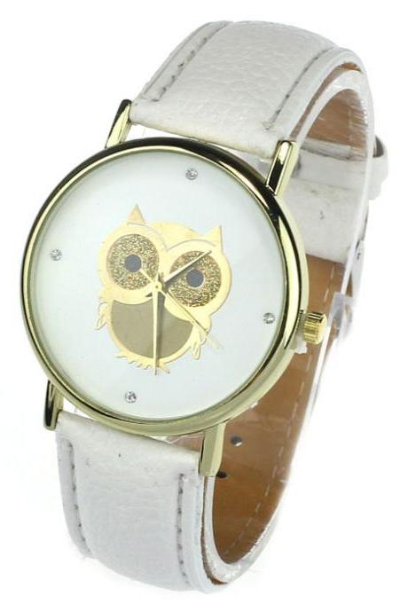Owl watch, white leather watch, leather watch, bracelet watch, vintage watch, retro watch, woman watch, lady watch, girl watch, unisex watch, AP00172