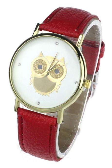 Owl watch, red leather watch, leather watch, bracelet watch, vintage watch, retro watch, woman watch, lady watch, girl watch, unisex watch, AP00173