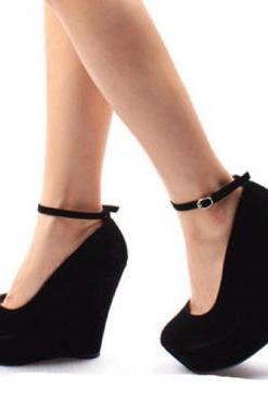 Elegant Round Closed Toe Super High Wedges Black Suede Ankle Strap Pumps