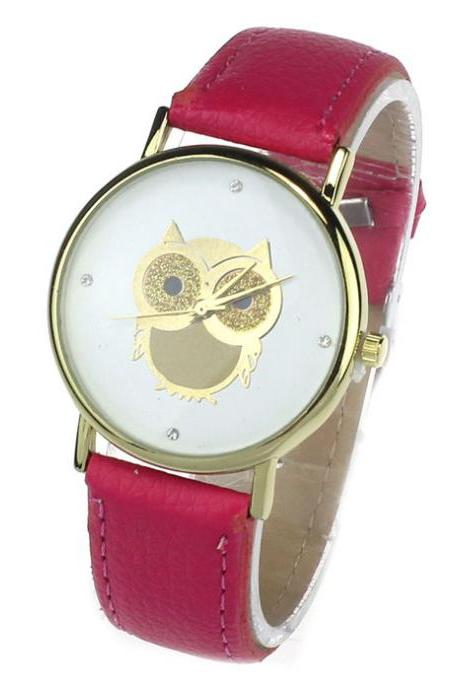Owl watch, hot pink leather watch, leather watch, bracelet watch, vintage watch, retro watch, woman watch, lady watch, girl watch, unisex watch, AP00176