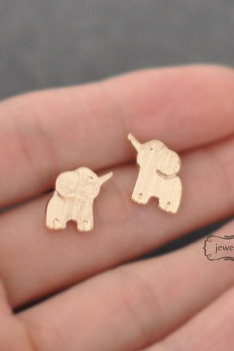 Gold elephant earrings, elephant stud, gold, post earrings
