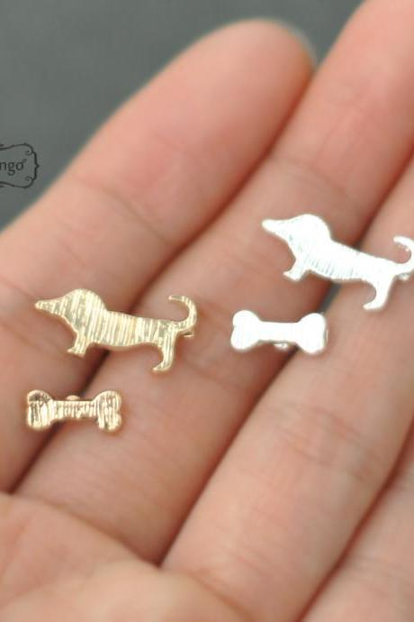 Dog stud Earrings - gold or silver