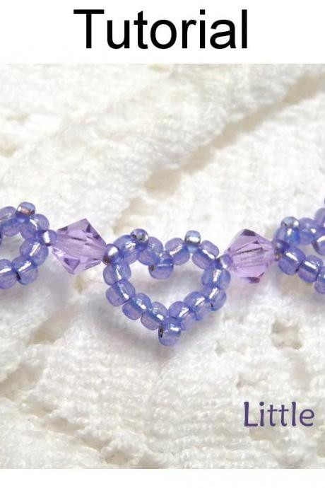Beading Tutorial Pattern Bracelet - Beaded Heart Jewelry - Simple Bead Patterns - Little Hearts #1159