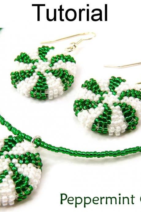 Beading Tutorial Pattern Earrings Necklace - Holiday Christmas Jewelry - Simple Bead Patterns - Peppermint Candy Set #10625