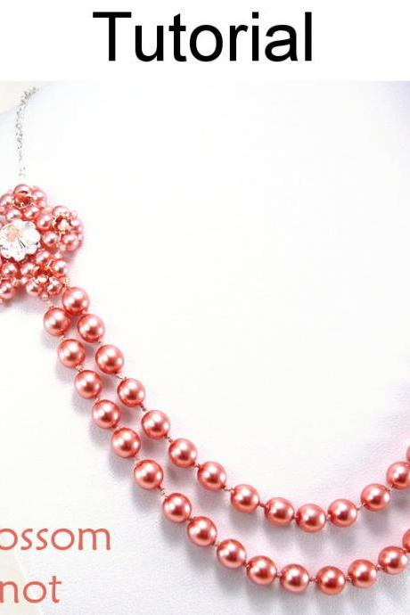 Beading Tutorial Pattern Necklace - Pearl Knot Jewelry Making - Simple Bead Patterns - Cherry Blossom Pearl Knot #5323
